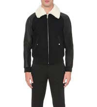 Sandro Shearling Detail Wool Blend And Leather Jacket Blue Green