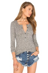 Bobi Mini Striped Jersey Long Sleeve Half Button Top Gray