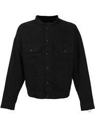 Daniel Patrick Collarless Buttoned Jacket Black