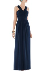 Women's Alfred Sung Shirred Chiffon V Neck Gown Midnight