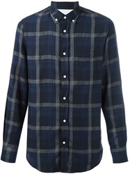 Officine Generale Japanese Twill Plaid Shirt Blue