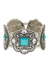 Stephan And Co Metal And Stone Stretch Bracelet Blue