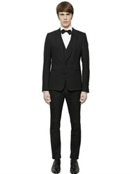 Dolce And Gabbana Stretch Wool Gabardine 3 Piece Suit