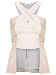 Giuliana Romanno Panelled Blouse Nude Neutrals