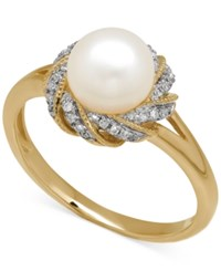 Macy's Freshwater Pearl 7Mm And Diamond Accent Ring In 14K Gold
