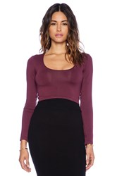 Sky Braulia Long Sleeve Crop Top Wine