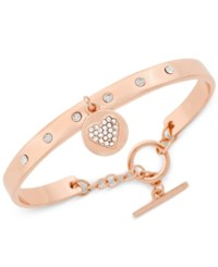 Bcbgeneration Crystal Charm Toggle Bracelet Rose Heart