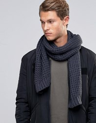 Asos Knitted Scarf In Slate Grey Grey