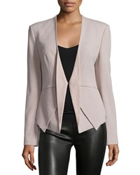 Halston Open Front Blazer W Leather Inset Stone Grey