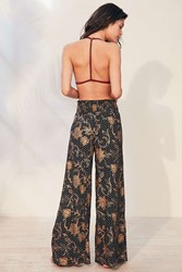 Out From Under Foil Print Wide Leg Pant Black