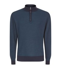 Peter Millar Half Zip Wool And Silk Jumper Male Turquoise