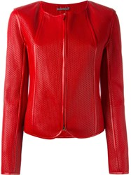 Giorgio Armani Fitted Textured Leather Jacket