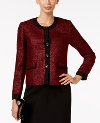 Kasper Petite Five Button Tweed Blazer Fire Red Black