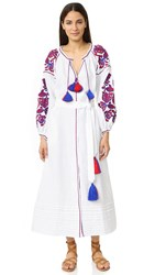 March11 Maxi Dress With Poppy Flower Embroidery White