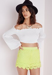 Missguided Crochet Lace Runner Shorts Lime Green