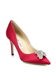 Jimmy Choo Mamey Satin Crystal Point Toe Pumps Pink Black