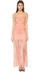 Herve Leger Sleeveless Fringe Gown Blush