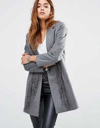 Religion Wool Overcoat With Tassels Grey