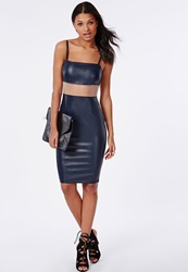 Missguided Faux Leather Transparent Mesh Midi Dress Navy Blue