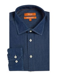 Tallia Orange The Mason Fit Chambray Dress Shirt Blue