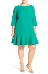 Eliza J Plus Size Women's Flounce Hem Dress Green
