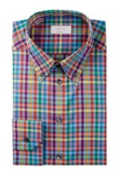 Eton Slim Fit Checkered Dress Shirt Pink