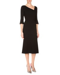 Roland Mouret 3 4 Sleeve Wool Midi Dress Black