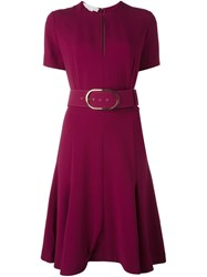 Stella Mccartney Belted Keyhole Detail Dress Pink And Purple
