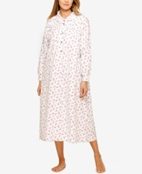 Lanz Of Salzburg Peter Pan Collar Flannel Nightgown Ivory Roses