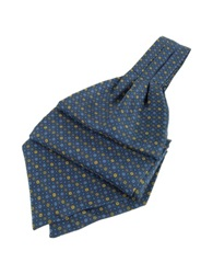 Forzieri Dots And Flower Print Silk Ascot Blue