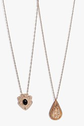 Boohoo Stone Pendant Pear Drop Necklace Pack Gold