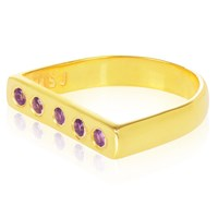 Msj By Mira S Designs Yellow Gold Gilded Flat Ring With Purple Amethyst Gold Pink Purple