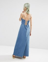 Asos Maxi Dress With Tie Back In Washed Cotton Blue