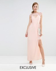 Elise Ryan Sweetheart Maxi Dress With Eyelash Lace Trim Nude Pink