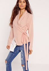 Missguided Long Sleeve Wrap Tie Side Blouse Pink Red