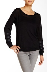 Townsen Leo Carrillo Long Sleeve Linen And Faux Leather Sweater Black