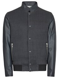 Reiss Cameron Contrast Leather Bomber Jacket Indigo