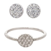 Earthy Chic Boutique Classic Pave Disk Ring And Earring Set 14K White Gold Plated
