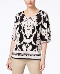 Jm Collection Printed Butterfly Sleeve Top Only At Macy's Black Sahara Sweep