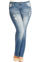 Plus Size Women's City Chic 'Soft Grind' Distressed Stretch Bootcut Jeans Light Denim