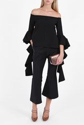 Ellery Off Shoulder Ruffle Top Black