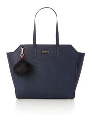 Paul's Boutique The Limehouse Collection Navy Coral Winged Tote Navy And Pink Navy And Pink