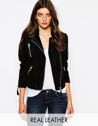 Mango Biker Jacket With Contrast Quilted Leather Panels Black