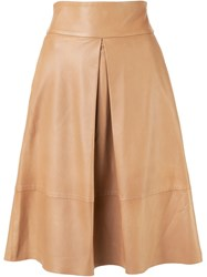 Martin Grant Leather Skirt Nude And Neutrals