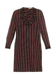 N 21 Ruffled Striped Dress Burgundy