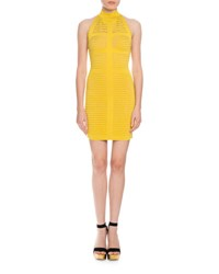 Balmain Stripe Knit Halter Dress Yellow