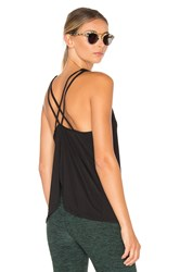 Beyond Yoga Sleek Stripe Waterfall Swing Tank Black