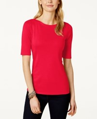 Charter Club Elbow Sleeve Boat Neck Pima Cotton T Shirt Only At Macy's New Red Amore