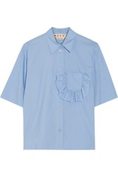 Marni Ruffle Trimmed Cotton Poplin Shirt Light Blue