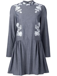 Suno Macrame Insert Chambray Dress Grey
